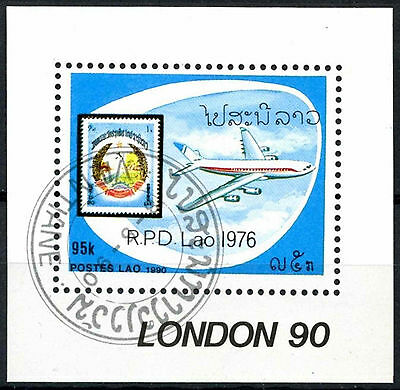 Laos 1990 SG#MS1192 London Stamp Exhibition Aircraft Cto Used M/S #A84833