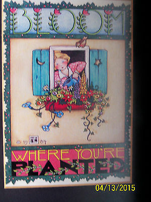 mary engelbreit print Bloom Where You're Planted  wood framed ME