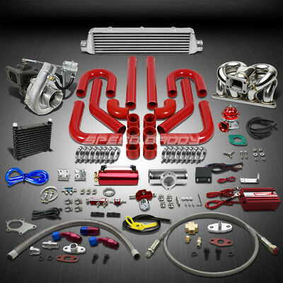 T04 .63Ar 400Hp+15Pc Turbo Charger+Ram Horn Manifold+Intercooler Kit For D15/d16