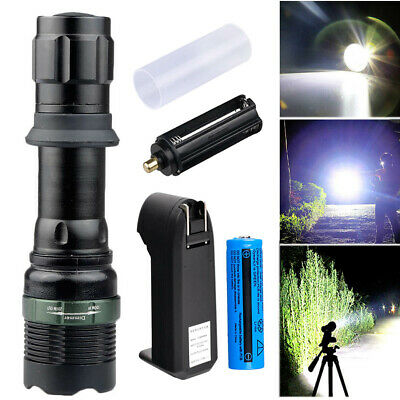 Tactical 90000LM T6 LED Zoomable Flashlight Torch Light+18650 Battery&Charger