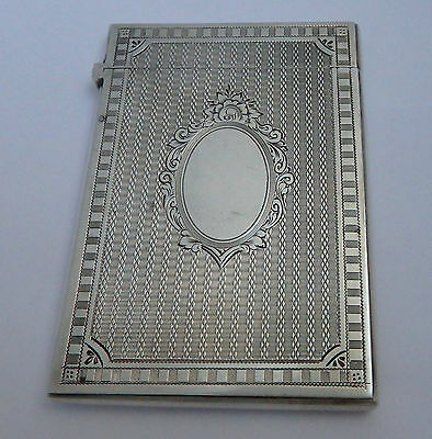 SUPERB CONDITION ANTIQUE VICTORIAN B1875 SOLID STERLING SILVER CALLING CARD CASE