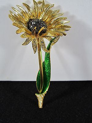 """Estate"" Beautiful Rare Signed Designer Joan Rivers Flower Rhinestone Brooch/Pin"
