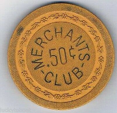Merchants Club .50 Casino Chip Flower Mold Newport Kentucky 1940-1950