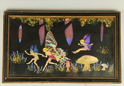 Vintage 1920s-30s Dancing Fairies w Butterfly Wings Forest Picture Artwork