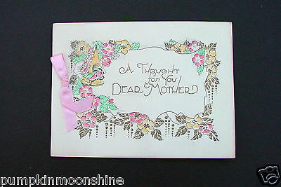 # I 621- Vintage Art Deco Mother's Day Greeting Card Pretty Birds in Birdhouse