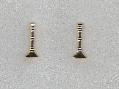 "Fire LT Lieutenant 1 Single Bugle 1"" Gold Pair Large Collar/Epaulet Pins"