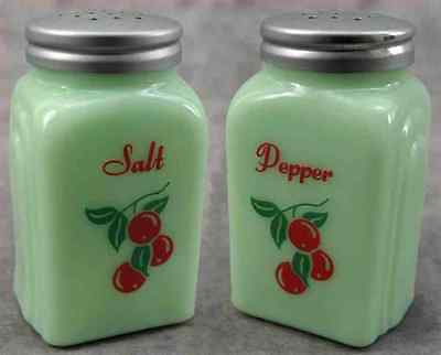 JADEITE GREEN GLASS RED CHERRIES CHERRY SALT & PEPPER SHAKER SET ~Aluminum Tops~