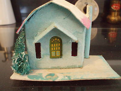Antique Vintage Christmas Turquoise Cardboard House