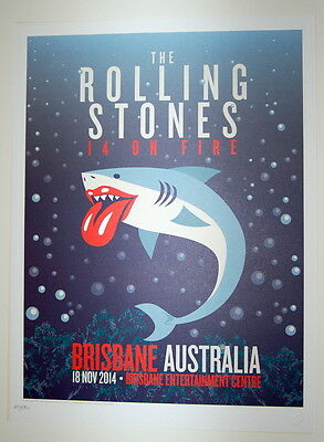 The Rolling Stones - Lithograph Poster - 14 0N Fire - 2014 - Brisbane Entertain
