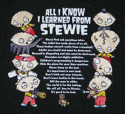 The Family Guy All I Know I Learned From Stewie T-Shirt Size LARGE, NEW UNWORN