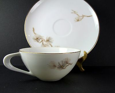 Larchmont by Sango Japan Cup and Saucer Set Pine Branch Pattern White Porcelain