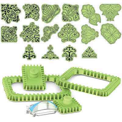 65-32046 STAMPING GEAR DELUXE SET 16 cling stamps SQUARES/RECTANGLES Inkadinkado