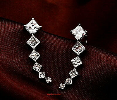 White Gold Filled Silver Made with Swarovski Crystal Two Way Wear Ear Cuff IE54