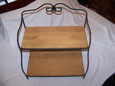 Longaberger Wrought Iron Small Baker's Rack with Classic WoodCrafts Shelves