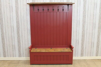 Handmade 4Ft Reclaimed Pine Hallstand Bench Hall Seat With Hooks And Storage