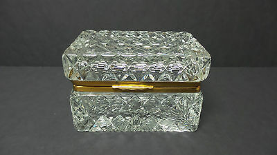 BEAUTIFUL VINTAGE HEAVY FRENCH CRYSTAL JEWELRY CASKET, c. 1930's, BACCARAT??
