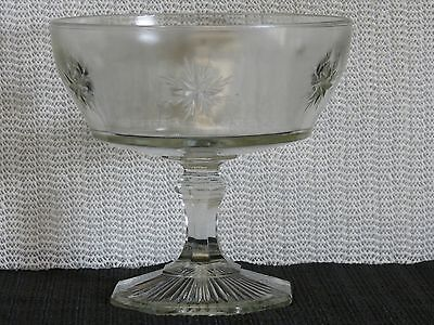 ANTIQUE FRUIT COMPOTE STARBURST DESIGN-BUBBLES IN THE GLASS