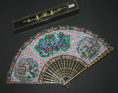 SUPERB ANTIQUE CHINESE GOLD LACQUER FIGURAL SCENE 100 FACES PAINTED LEAF FAN BOX