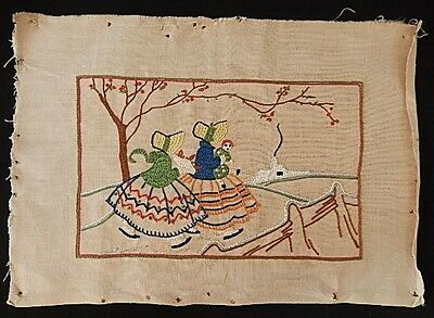 Vintage Crinoline Lady with Baby Embroidered Linen Panel Embroidery