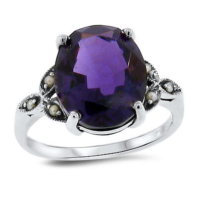 5 Ct Lab Amethyst & Pearl Victorian Antique Design .925 Sterling Silver,    #114