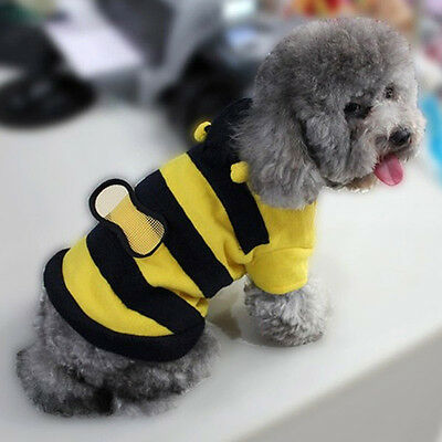 Winter Cute Pet Puppy Dog Wool Clothes Bumble Bee Halloween Apparel Clothes