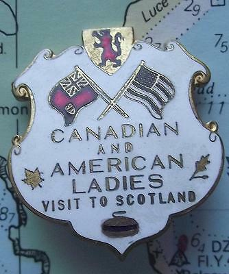 Vintage Gilded Curling Club Badge CANADIAN USA Ladies visit to Scotland 1955