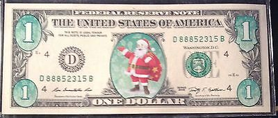 Colorized Obverse Santa $1 Federal Reserve Note - Closeout