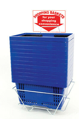 12 Standard Shopping Baskets - Plastic Handles - Metal Stand and Sign - Blue