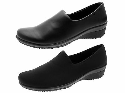 Womens Low Wedges Flexi Stretch Comfort Work Loafers Slip On Shoes Ladies Size