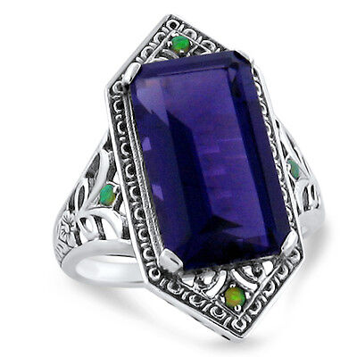 7 Ct Lab Amethyst & Opal Antique Victorian Design .925 Sterling Silver Ring,#256