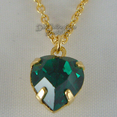 May Birthstone Necklace Emerald Green for American Girl Doll Clothes