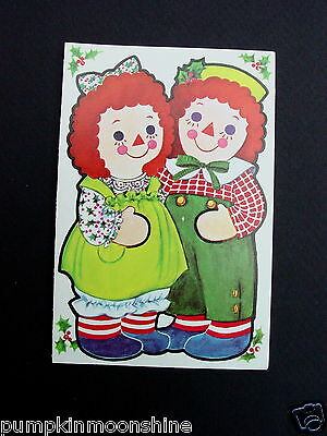 #D976- Vintage Paper Doll Cut Out Xmas Greeting Card Raggedy Ann & Andy Doll