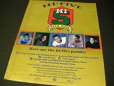 HI FIVE Waco, Texas HERE ARE HI POINTS 1991 Promo Poster Ad ...the kissing game