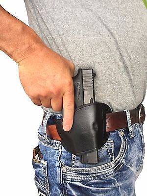 RUGER SR45 | Black Leather Gun Holster | Belt Slide | Right Hand