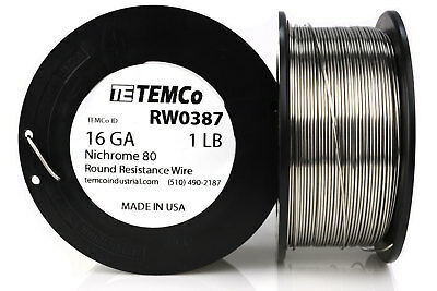 TEMCo Nichrome 80 series wire 16 Gauge 1 lb (135ft) Resistance AWG ga