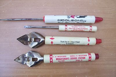 (AD 42) 4 LOT ADVERTISING BOTTLE OPENERS ICE PICK SCREW DRIVER 1950'S ILL