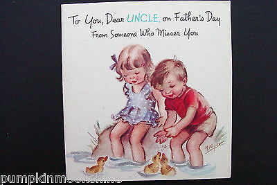 #D465- Vintage Unused Marjorie M. Cooper Father's Day for Uncle Greeting Card