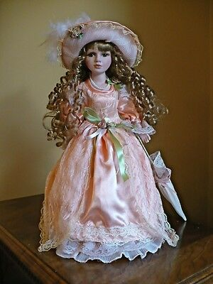 """16 IN. PORCELAIN DOLL""""LAURA"""" BROWN HAIR PEACH DRESS  collectible gift dolls"""
