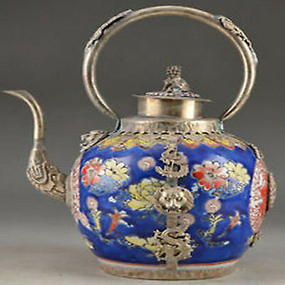 Wonderful Copper Chinese Old Handwork Carving Lion Dragon Tea Pot