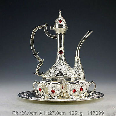 Collectible Decor Old Handwork Miao Silver Carve Flower Bead Wine Pot Cup Set