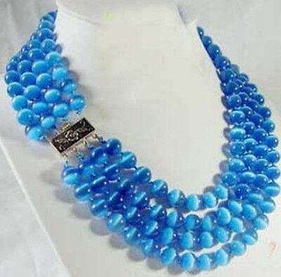 4 rows blue opal Necklace silver clasp 8mm