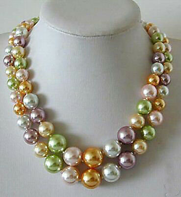 Beautiful AAA color all kinds 8-14mm shell bead necklace