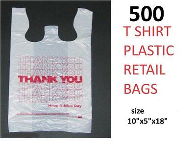 500  T-SHIRT CARRY OUT RETAIL THANK YOU BAGS PLASTIC  GROCERY SHOPPING