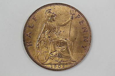 Gb Edward Vii Halfpenny Coin 1902 S3991 Uncirculated