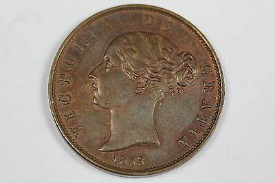 Gb Victoria Halfpenny Coin 1853/2 S.3949 Extremely Fine