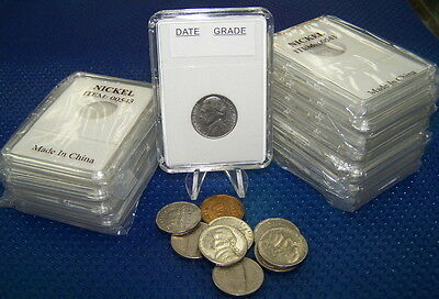 100 Coin Holders Slab Style for  Canadian and US Nickel size *21 mm*