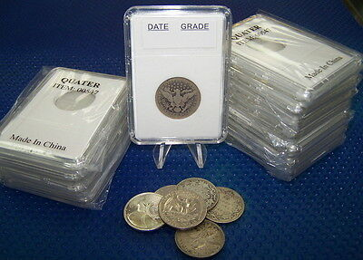 100 coin holders Slab Style for Can/NFDL 25 cents and US Quarter ** 24 mm**