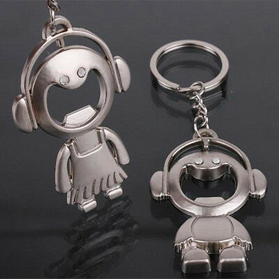 1 pair Fashion Music Doll Bottle Opener Lovers Couple Keyring Keyfob Keychain
