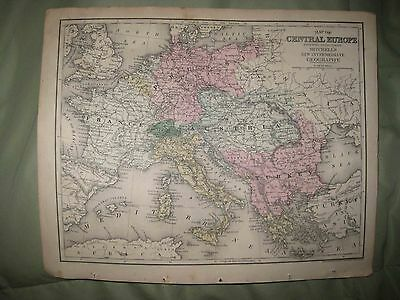 Antique 1873 Central Europe Handcolor Map Austria Prussia France Italy Hungary N