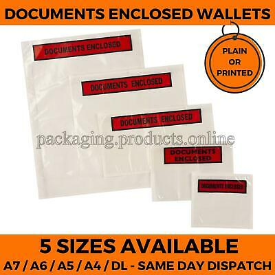 DOCUMENT ENCLOSED Wallets / Envelopes - A7, A6, A5 Plain Printed FREE DELIVERY